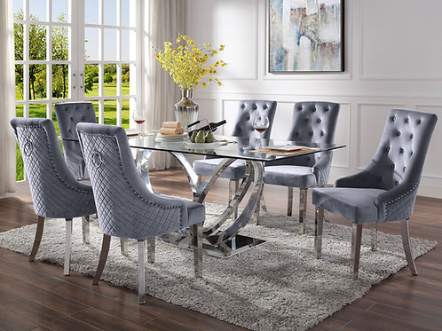 Finley All Glam Glass Mirrored Silver Finish Dining Table