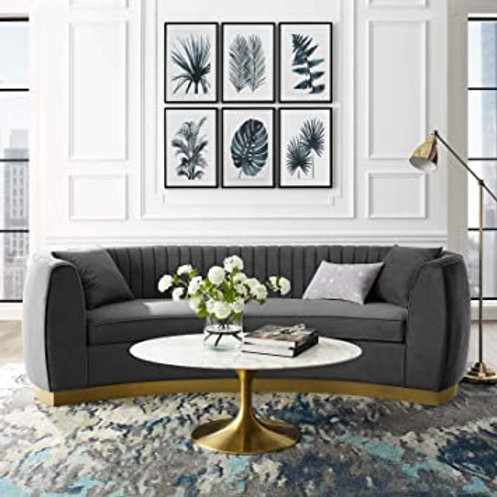 Enthusiastic Mod Tufted Curved Velvet Sofa in Gray