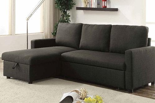 Hiltons All Sectional Sofa w/Sleeper & Storage Charcoal Linen