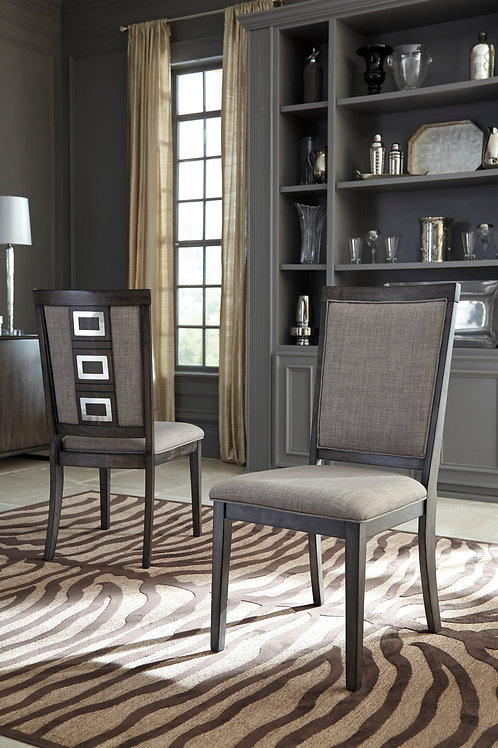 Angel Chadoni Contemporary Gray Fabric Side Chair