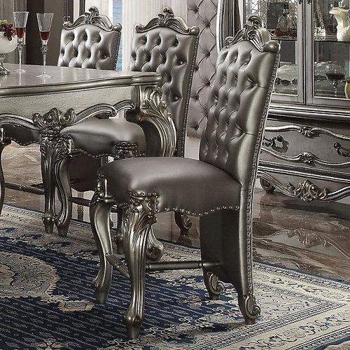 Versailles All Silver PU & Antique Platinum Counter Height Chair