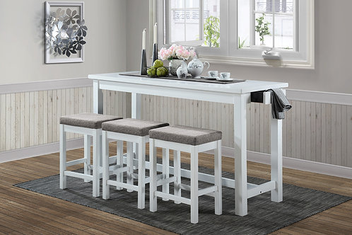Connected Henry White 4-Piece Pack Counter Height Set