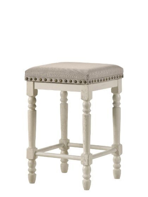 Counter Height Stool - 77183 All Tan Fabric & Antique White Finish