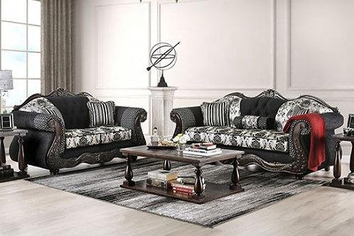 RONJA Imprad Black/Gray Chenille Sofa