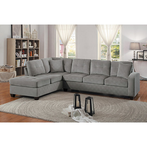 Emilio Henry 2-Piece Reversible Sectional Gray