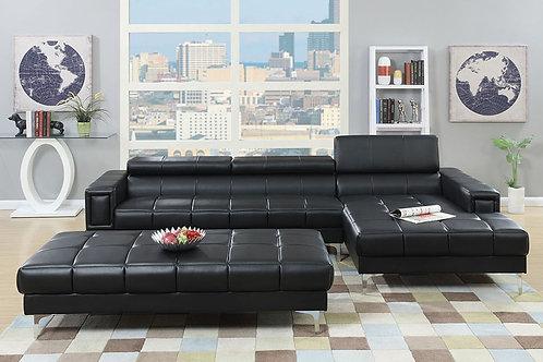 Black Bonded Leather Sectional Port 7363