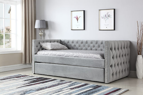 708 Emeral Grey Tufted Day Bed with Trundle