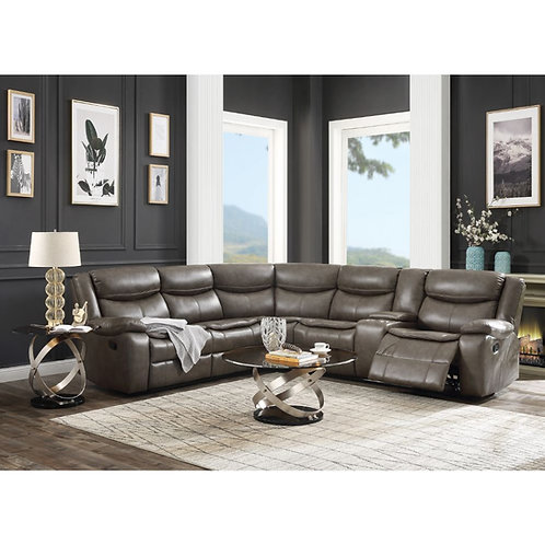 All Tavin Taupe Leatherette Motion Sectional Sofa