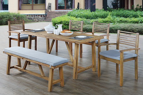 276 Port 6pc Patio Set ( Table, 4 Chairs, Bench)