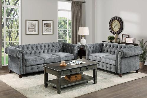 Henry Welwyn Chesterfield Tufted Dark Gray Velvet Sofa