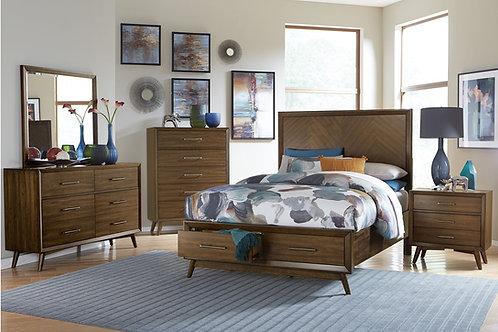 Raku Henry Mid-Century Modern Walnut Bed with Storage