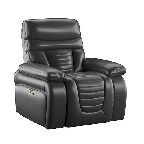 Emeral George Black Leather Power Reclining Chair w/Adjustable Headrest