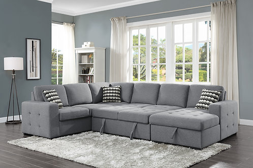 Henry Solomon 4-Piece Sectional with Pull-out Bed and Hidden Storage