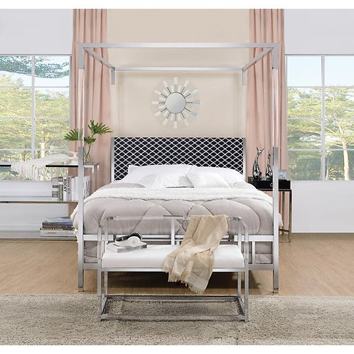 Raegan All Gray Fabric and Chrome Queen Bed