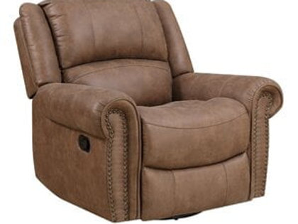Emeral Spencer Light Brown Suede Motion Chair w/Nail-Heads