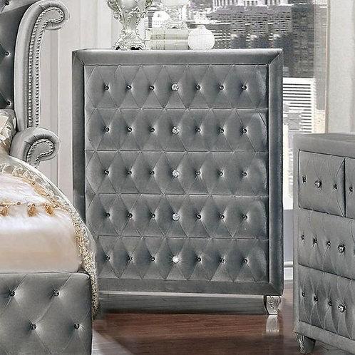 Imprad Alzire Gray Velvet Glam Chest
