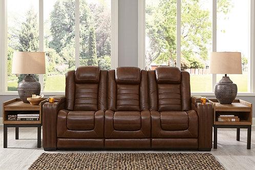 Angel Backtrack Chocolate Leather PWR Reclining Sofa w/Adjustable Headrest
