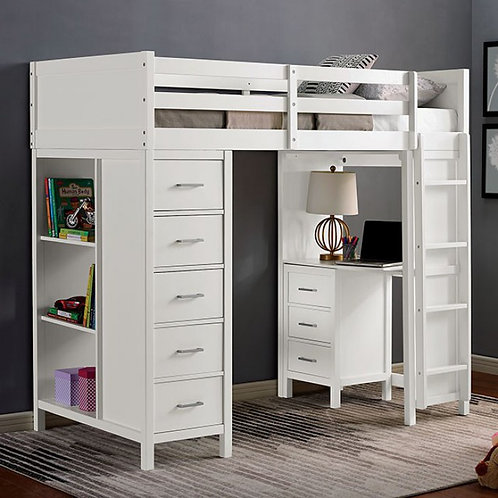 CASSIDY Imprad Twin Loft Bed White