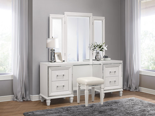 Henry Tamsin White Vanity with Mirror & Stool