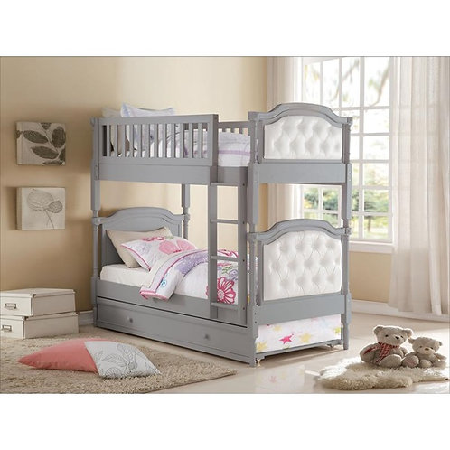 Pearlie All T/T Gray Bunk Bed w/ Storage