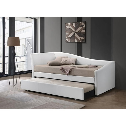 Jedda All White PU Daybed with Trundle