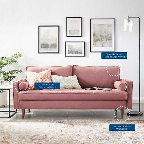 Valour Mod Performance Velvet Sofa in Dusty Rose