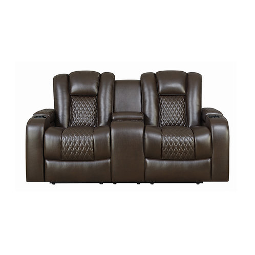 Delangelo Cali Power^2 Loveseat With Drop-Down Table Brown