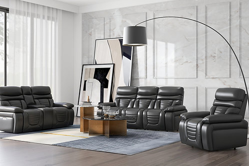 Emeral George Black Leather Power Reclining Sofa w/Adjustable Headrest