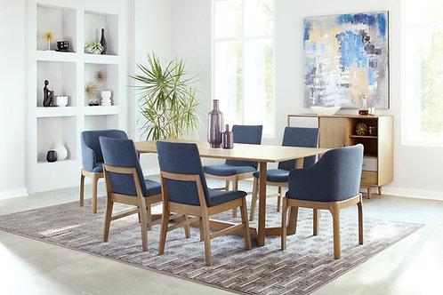 Monroe Artas Cali Trestle Base Dining Table Grey Oak