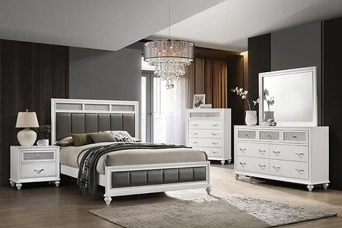 Cali Barzini White Silver Grey Leatherette Padding Bed Frame