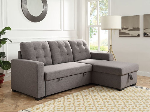 All Gray Fabric CHAMBORD Reversible Storage Sleeper Sectional Sofa