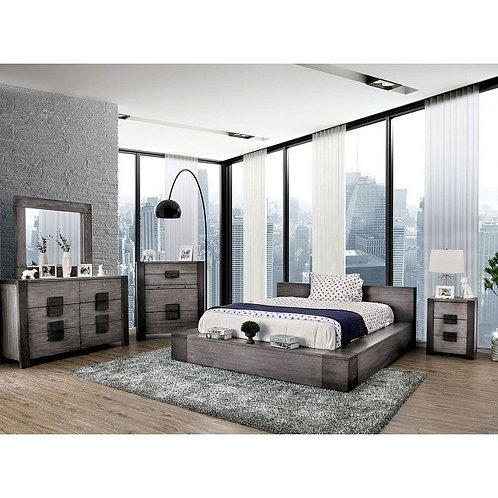 JANEIRO Imprad Low Profile Modern Bed in Gray