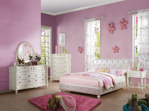 Dorothy All Bed (Padded) Pearl White PU & Ivory
