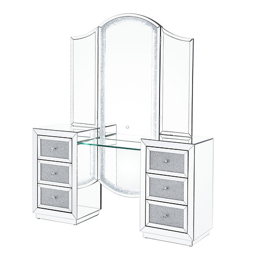 ALL Noralie Vanity Desk (LED) - 90815 - Glam - LED, Mirror, Glass, Faux Diamonds