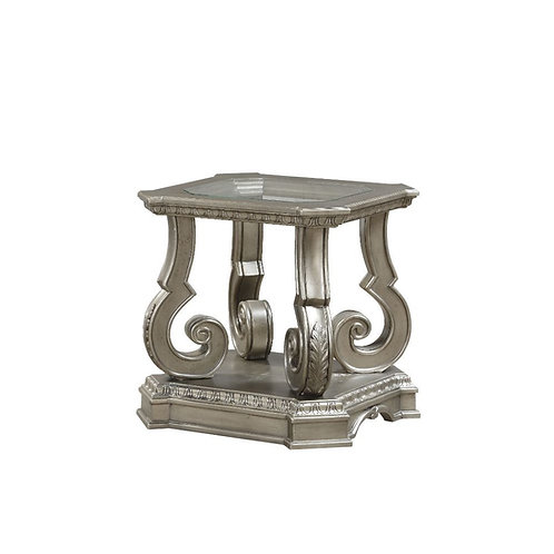 All Northville Traditional Antique Silver & Clear Glass End Table
