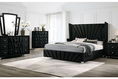 CARISSA Imprad Transitional Black Velvet Winged Back Bed Frame