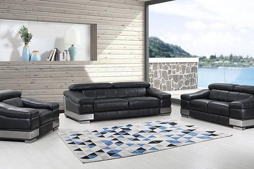 Geo 415 Italian Leather Black Sofa