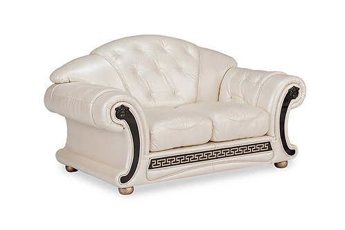 Apolo Pearl Classic Shiny Crocodile Embossed Leather Loveseat