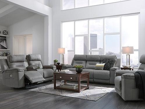 Trampton Angel Grey Power Rec Sofa w/ ADJ Headrest