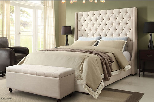 Dream Park Avenue Tufted Plush Desert Sand Linen Bed