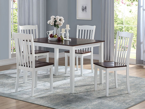All Green Leigh 5Pc Pk Dining Set White & Walnut