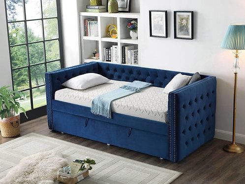 Best K37 Twin Navy Blue Velvet Day Bed W/Trundle