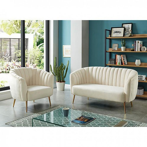 DIONNE Imprad Contemporary Ivory Loveseat w/Gold Legs