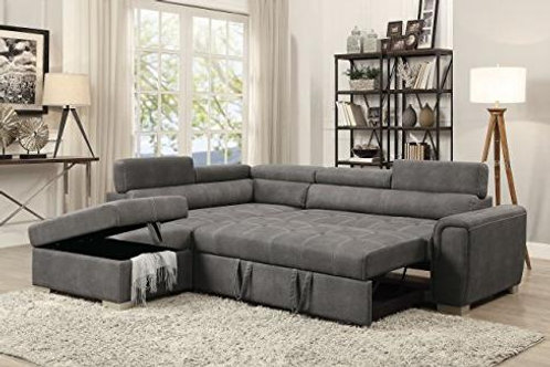 Thelma All Sectional Sofa w/Sleeper & Ottoman Gray Polished Microfiber