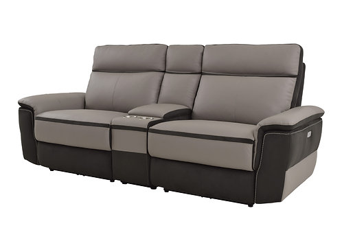 Laertes Henry Taupe Gray Top Grain Leather Power Reclining Loveseat