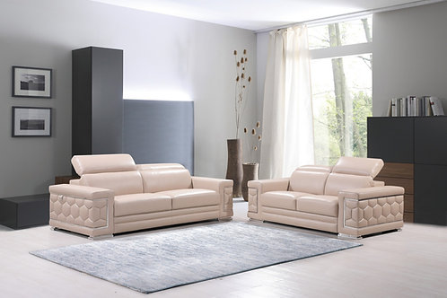 692 Geo Beige Italian Leather Sofa