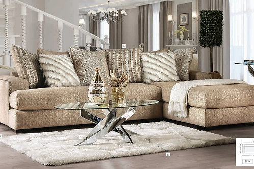 Imprad Avery Beige Chenille Glam Sectional