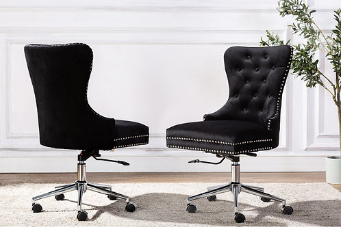 Best OC42 Black Velvet Tufted Adjustable, Swivel Office Chair