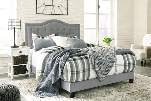 Jerary Angel Gray Tufted Bed