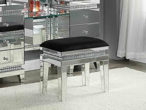 All 90815  Glam Mirrored/Upholstered Seat Vanity Stool